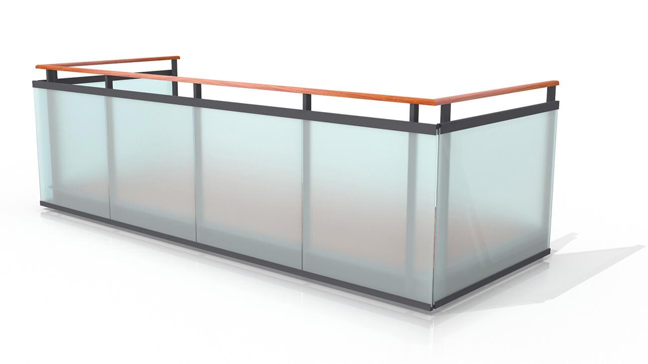 Geländer aus gehärtetem und laminiertem Glas