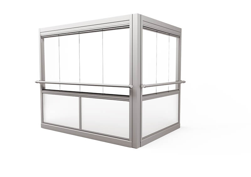 <span>Design Air </span>Verglasungssystem mit großen rahmenlosen Fenstern.